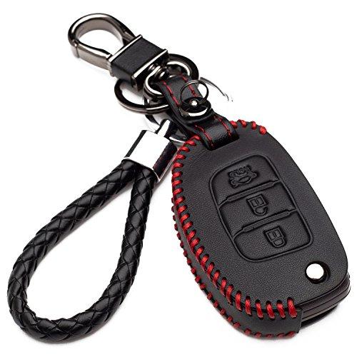 Hülle Autoschlüssel für Hyundai - Kunstleder Schutzhülle mit Schlüsselanhänger Schlüssel 3 Tasten für Kia für Hyundai i10 i20 iX25 iX35 iX45 Elantra AccentSolaris Etui für Fernbedienung (red edition)