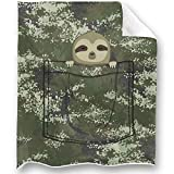 LOONG DESIGN Camo Pocket Sloth Throw Blanket Super Soft, Fluffy, Premium Sherpa Fleece Blanket 50'' x 60'' Fit for Sofa Chair Bed Office Travelling Camping Gift