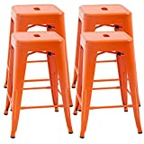 """FDW Metal Bar Stools Set of 4 Counter Height Barstool Stackable Barstools 24 Inch 30 Inch Indoor Outdoor Patio Bar Stool Home Kitchen Dining Stool Backless Bar Chair (Orange, 24"""")"""