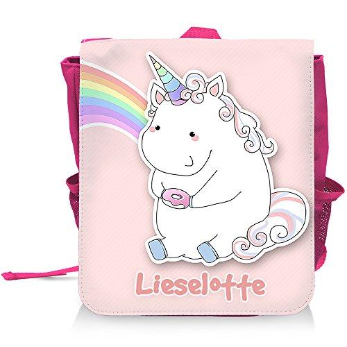 Kinder-Rucksack mit Namen Lieselotte und schönem Motiv - Einhorn mit Donut und Regenbogen in Pastel-Farben - für Mädchen