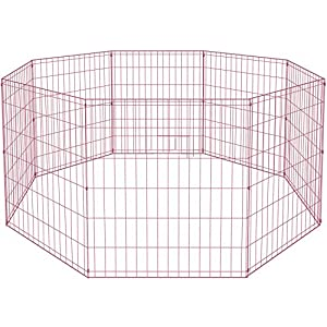 30 Tall Dog Pink Playpen Crate Fence Pet Kennel Play Pen Exercise Cage -8 Panel