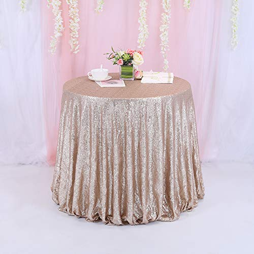 TRLYC New Listing !!! Champagne Round Sparkly Sequin Tablecloth 72' - 196'' Round for Wedding/Dessert Table (120')