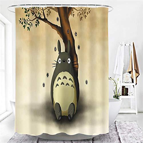 lxianghao Duschvorhang Mit Motiv Polyester Stoff Mein Nachbar Totoro Anime Bad Vorhang 180 X 180 cm Mit Haken Für Duschvorhang