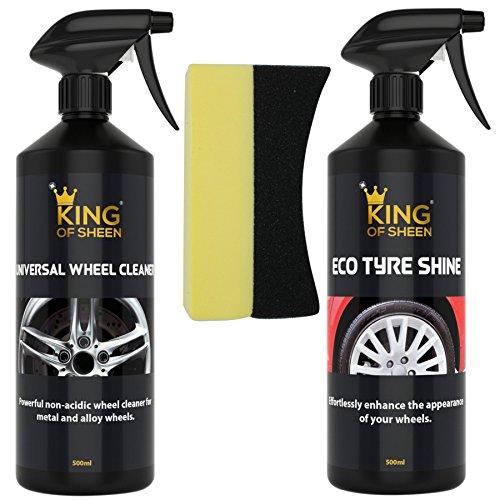 King of Sheen Wheel Care Kit - Eco Tyre Shine and Universal Wheel Cleaner + Tyre Dressing Sponge