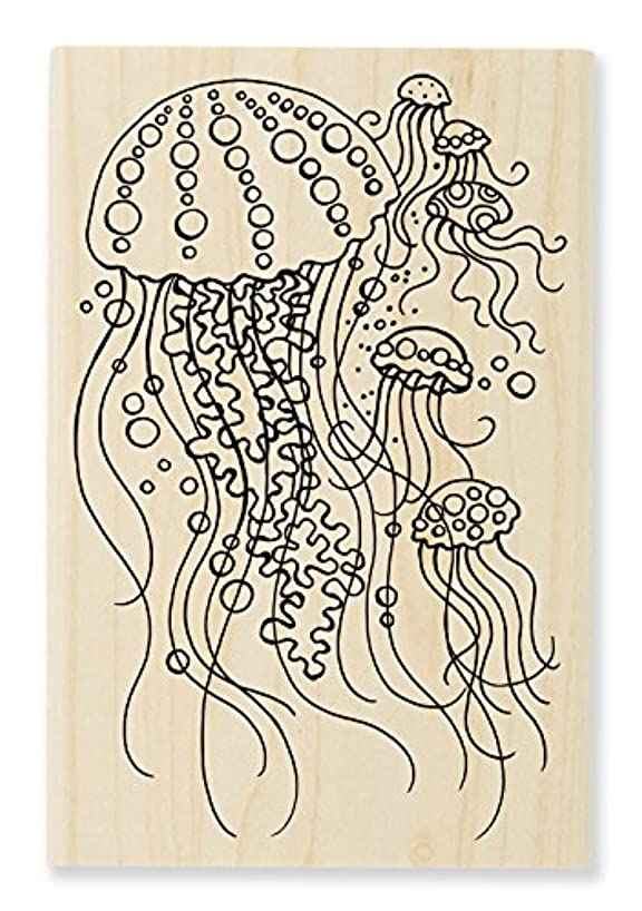 STAMPENDOUS Wood Rubber Stamp, Jellyfish