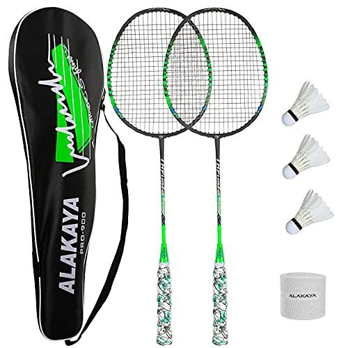 ALAKAYA Badminton Set - 2 Badmintonschläger + 3 Federbälle + Schlägertasche