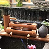 Decoración de paisaje, Funda de almohada Fuente de agua de bambú Estatua decorativa, Adornos de decoración del hogar, Característica de agua de bambú, Artesanía de filtro de canal de piedra, Oficina