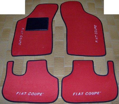 SonCar FIAT COUPE 'Fußmatten für Auto, Komplettset-Gummimatten passgenau mit Stickerei rot