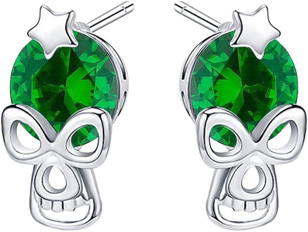 Max 50% OFF Award RUDRAFASHION Stunning 14k Gold Plated Earrings Green Star Skull