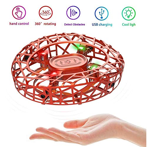 MARSMO Drones para Niños RC Mini Drone UFO Flying Ball 360° Rotación Flying Drone Quadcopter Controlado a Mano Recargable con Inducción Infrarroja Niños Flying Toy(Naranja)