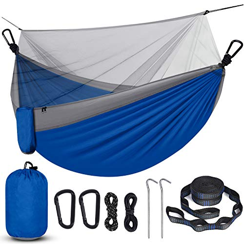 Camping Hammock with Net, Travel Portable Lightweight Hammock with Tree Straps and D-Shape Carabiners, Parachute Nylon Hammock for Outsides Backpacking Beach Backyard Patio Hiking,(Blue & Grey)