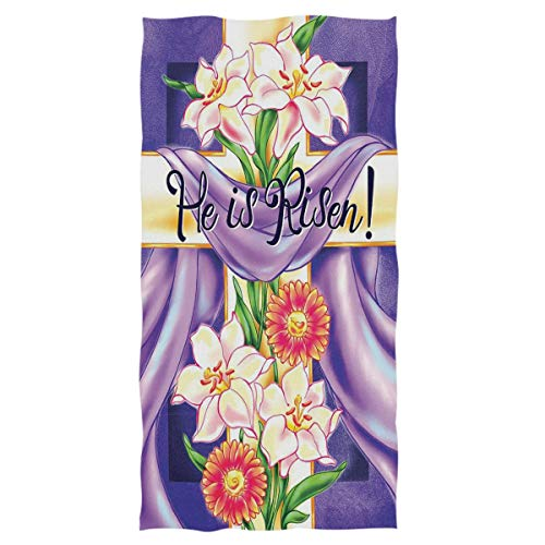 Easter Cross He is Risen Hand Towels Lilies Spring Flower Ultra Soft Bath Towel Highly Absorbent Multipurpose Bathroom Towel for Hand,Face,Gym,Spa, Happy Easter Day Holiday Decor,16x30 IN (Cross)
