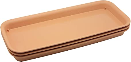 BangQiao 14.60 Inch Plastic Rectangular Planter Pot Saucer Tray for Indoor and Outdoor Plants,Pack of 3,Terracotta