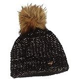 Breiter Gorro de punto con pompón, cálido y suave, banda interior de forro polar., Negro , Talla única
