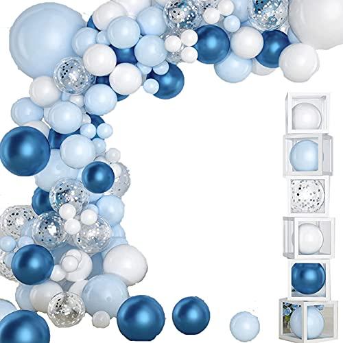 JINCHENG 107 pcs Kit de Guirnalda de Globos Azul Blanco,Arco para globos,...
