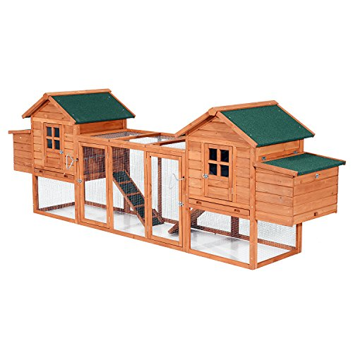 PawHut 124' Dual Backyard Chicken Coops with Outdoor Ramps...