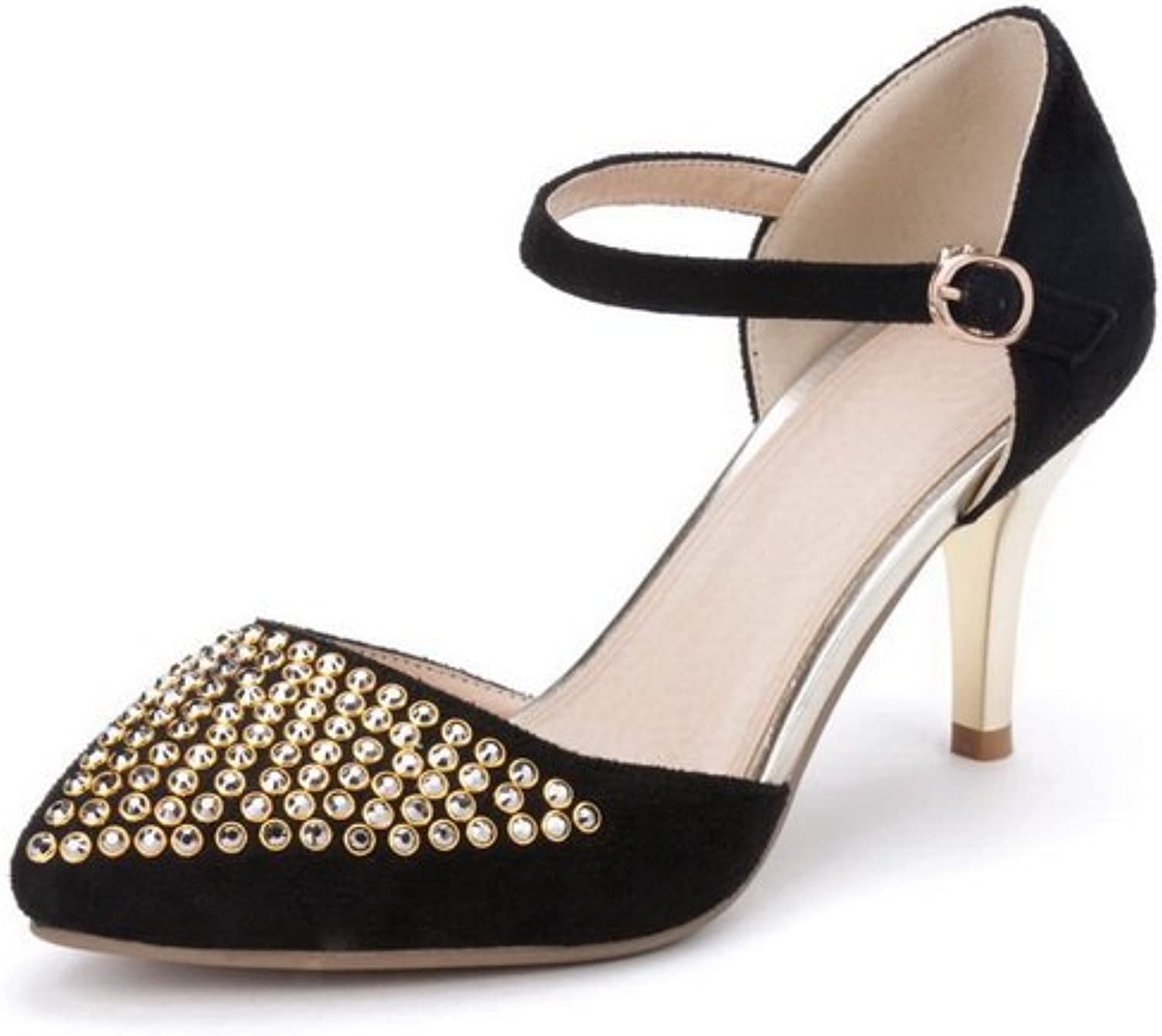 1TO9 Ladies Studded Rivet Pointed-Toe Black Frosted Sandals - 7.5 B(M) US