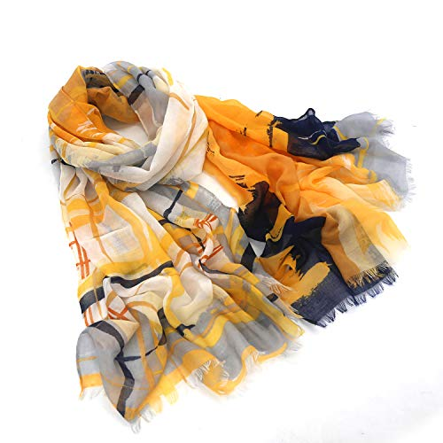 Women scarfs lightweight in fashion leopard print Long and large infinity wraps (yellow stripe, 71'X35')