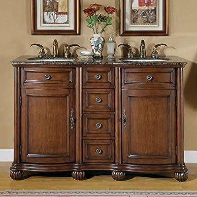 """Silkroad Exclusive LTP-0180-BB-UIC-52 Baltic Brown Granite Top Double Sink Bathroom Vanity with Cabinet, 52"""", Medium Wood"""