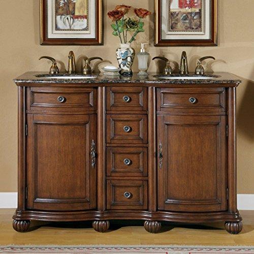 Silkroad Exclusive LTP-0180-BB-UIC-52 Baltic Brown Granite Top Double Sink Bathroom Vanity with Cabinet, 52', Medium Wood