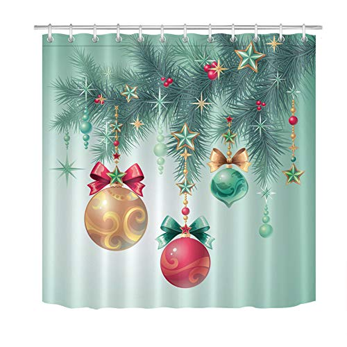 ZZZdz kerstboom ronde ballen sterren. Douchegordijn. 180 x 180 cm. 12 vrije haken. Meubeldecoratie. 3D Hd Afdrukken. Accessoires voor de badkamer. Achtergrond.