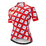 DIMPLEYA Las Mujeres Ciclismo Camisetas, Ciclismo Jersey Manga Corta Ciclismo Jersey Transpirable Cremallera Completa De Secado Rápido Tela De Poliéster Ropa De Ciclismo,Rojo,XL