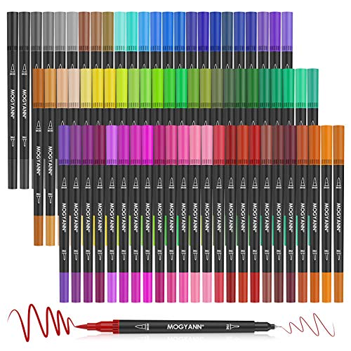 Mogyann 72 Penne da Colorare Penne a Doppio Pennello Pennarelli Pennarelli Pennarelli Artistici per Adulti e Bambini Libri da Colorare Disegno di Calligrafia Prendere Aappunti