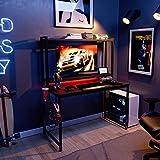 """Bestier 47"""" Gaming Desk with Hutch 20 Modes RGB Light Home Office Computer Desk w/Adjustable Shelves, Headset Hook, Cup Holder for Gamer, Home Office, Kids Schooling, Black Carbon Fiber"""