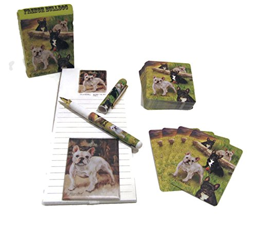 Dog Lover's Gift Set! - 4 Piece Bundle- One Custom Fine Art Writing Pen, One Matching Magnetic List Pad, One Matching Decorative Magnet, One Matching Deck Playing Cards (French Bulldog)