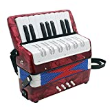 Acordeón, Mini acordeón, Pequeño-Key 17 8 Bajo la Educación juguete del instrumento musical Kids Junior Estudiantes principiantes, regalo cumpleaños ideal, para estudiantes principiantes niños,Rojo