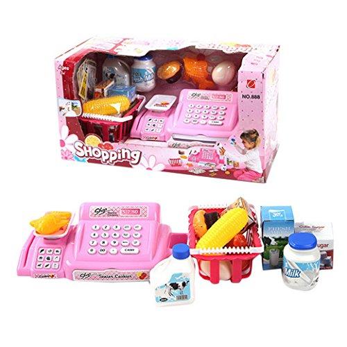 Happy Cherry - Enfant Jeu d'Imitation Jouet Caisse Enregistreuse Rose avec Scanner Accessoires Supermarché Jouet Educatif en Plastique Cadeau pour Bébé Fille Garçon - 18.5 * 36 * 17cm - 26 pcs