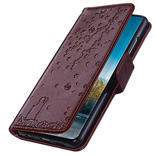 MoreChioce Hülle kompatibel mit iPhone 11 Pro Max Hülle,iPhone 11 Pro Max Handyhülle Kaffee Kirschblüte Katze Muster Klapphülle Stand Flip Case Ledertasche Schutzhülle Brieftasche Magnetische