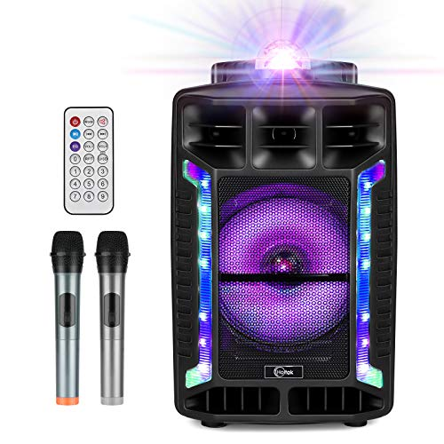 Portable Karaoke Machine 8'' PA Speaker System Bluetooth Karaoke System for Adults & Kids with Disco Ball, Microphone Rechargeable Battery USB/SD Reader