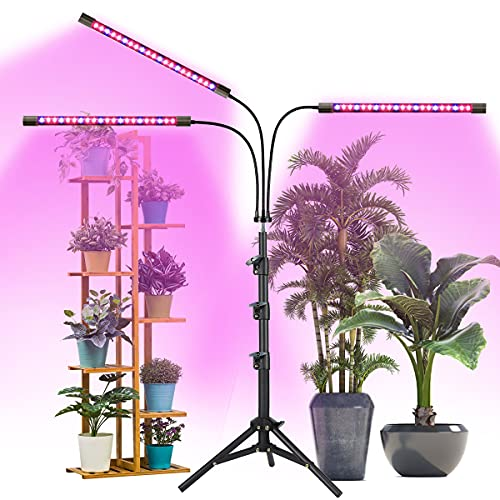 Grow Light with Stand,Juhefa Tri-Head Plant Growing Lamp with Red Blue LED Bulbs for Indoor Plants, 3 Lighting Modes & 10 Levels Brightness,Timing 3/9/12H