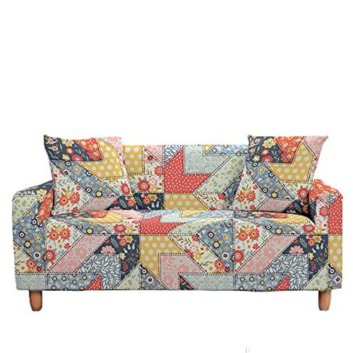 Meiju 3D Fundas de Sofá Elasticas 1 2 3 4 Plazas, Geometría Ajustables Cubierta de Sofá Cubre Sofa Antideslizante Funda Cubre Sofas Furniture Protector (Flores Vintage,3 plazas - 190-230cm)