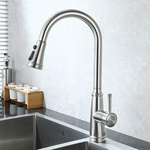 TEEKIA Kitchen Faucets,Single Handle Kitchen Sink Faucet with Pull Down Sprayer, 3-Mode Stainless Steel High Arc Single Handle Retractable Sprayer Kitchen Fixture, Brushed Nickel