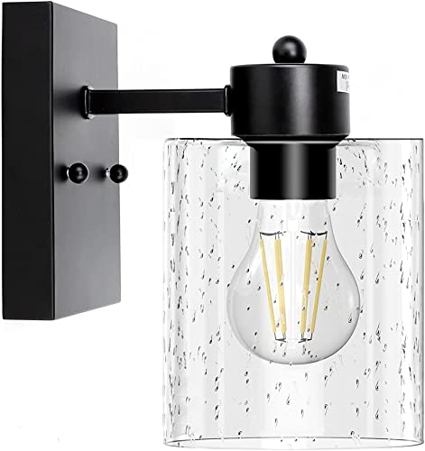 discount Depuley 1-Light outlet online sale Matte Black Wall Sconces wholesale Light Fixtures, Industrial Bathroom Vanity Lighting, Vintage Farmhouse Wall Mount Lamp with Bubbled Glass Shade for Mirror Hallway Kitchen Bedroom, E26 Base outlet online sale