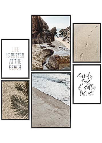 Heimlich® Premium Poster Set | Stilvolles Set mit passenden Bilder als Wohnzimmer Deko | 2 x DIN A3 & 4 x DIN A4 - ca. 30x42 & 21x30 | ohne Bilderrahmen » Beach Time «