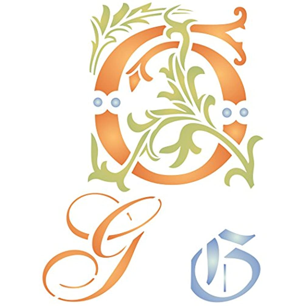 """Initial G Stencil (size 6.5""""w x 8.8""""h) Reusable Stencils for Painting - Best Quality Letter Wall Art Décor Ideas - Use on Walls, Floors, Fabrics, Glass, Wood, Cards, and More…"""