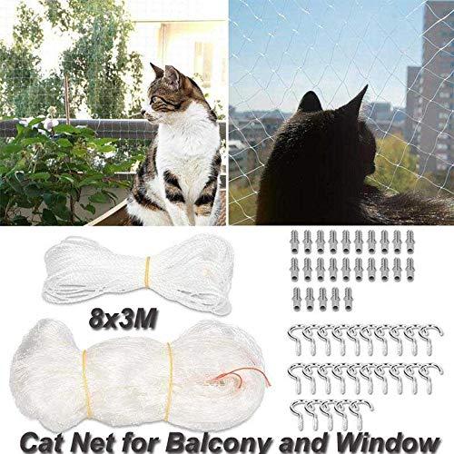 Volwco Balkon Kat Veiligheidsnet, Nylon Cat Beschermingsnet Transparant Balkonnet Voor Katten En Vogels, Bit Resistant, Beschermend Kattennet Met Bevestigingstouw, Haken En Dakpennen