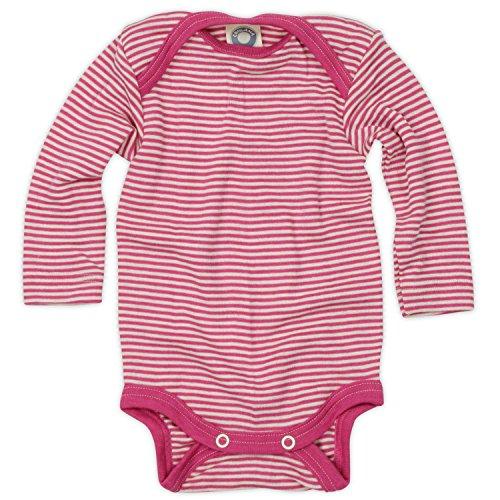 Cosilana Baby-Body, Wollbody, Größe 62/68, Farbe Pep-Pink geringelt, 70% Wolle und 30% Seide kbT