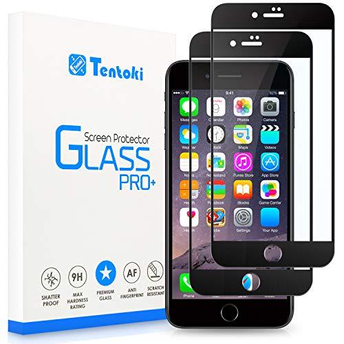 Tentoki Vetro Temperato per iPhone 7 Plus/iPhone 8 Plus, [2 Pezzi] Copertura Completa Pellicola Protettiva Protezione Schermo per iPhone 7/8 Plus, 9H Durezza, Nessuna Bolla - Nero