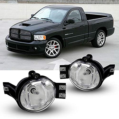 Driving Fog Lights with Clear Lens for 02-08 Dodge Ram 1500 03-09 Dodge Ram 2500 03-10 Dodge Ram 3500 Fog Lamps for Passenger and Driver Side with OE Part # 55077474AE, 55077475AE