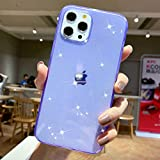 Anynve Bling Case Compatible with iPhone 12 Pro Case,for iPhone 12 Sparkle Case Clear Glitter[Anti-Shock Matte Edge Bumper Design] Cute Slim Soft Silicone Gel Phone Case 6.1''(2020) -Purple