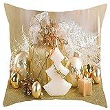 HEVÜY Weihnachten Kissenbezug Kissenhülle 45 x 45 cm 2er Sofakissen mit Reißverschluss dekokissen Set für Sofa Bett Schlafzimmer Solide