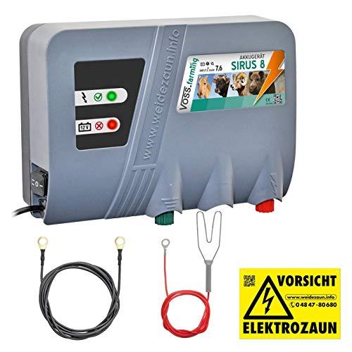 VOSS.farming Weidezaungerät 12V SIRUS 8, 7,6 Joule 10.000 Volt Batteriegerät Elektrozaungerät für Pferde, Rinder, Ziegen