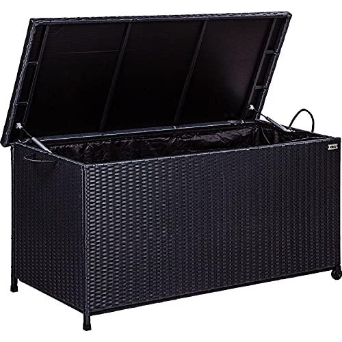 STILISTA® Polyrattan Auflagenbox 122 x 62 x 56 cm Deckel mit Hubautomatik, Innenplane, Räder und Tragegriffe, 4 Farben, Farbauswahl: Schwarz