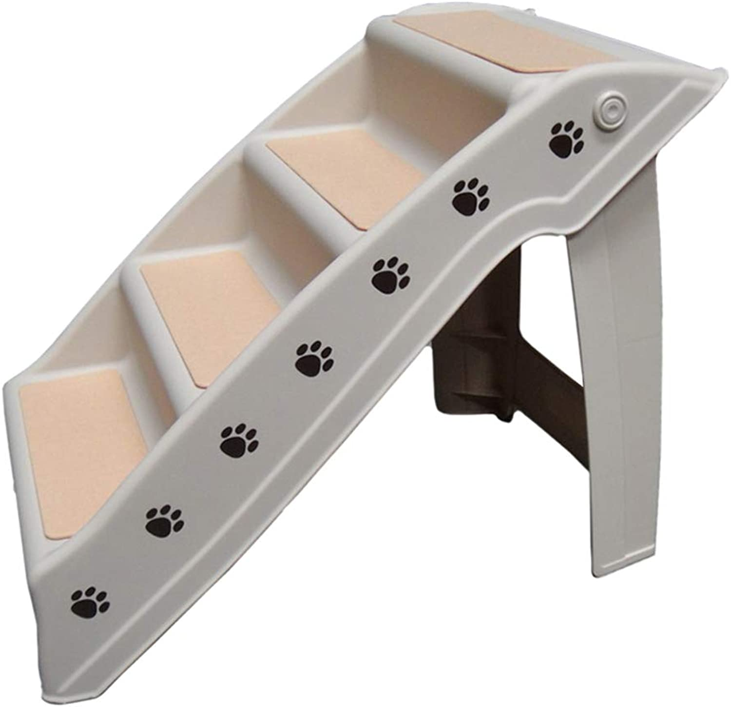 LXLA  Folding Plastic Pet Stairs, 4Step Ladder for Small and Medium Dogs Cats, Lightweight Portable, 62 × 38.5 × 48.5cm