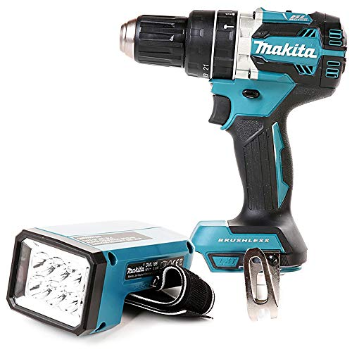 Makita DHP484 18v LXT Brushless Combi Drill with DML186 Fluorescent LED Torch