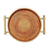 Snack-Rattan Ronda Bread Basket Fruit bandeja tejida mano de té bandeja de múltiples funciones bandeja Bocado cesta del almacenaje con la manija for almacenamiento de objetos pequeños ( tamaño : L )